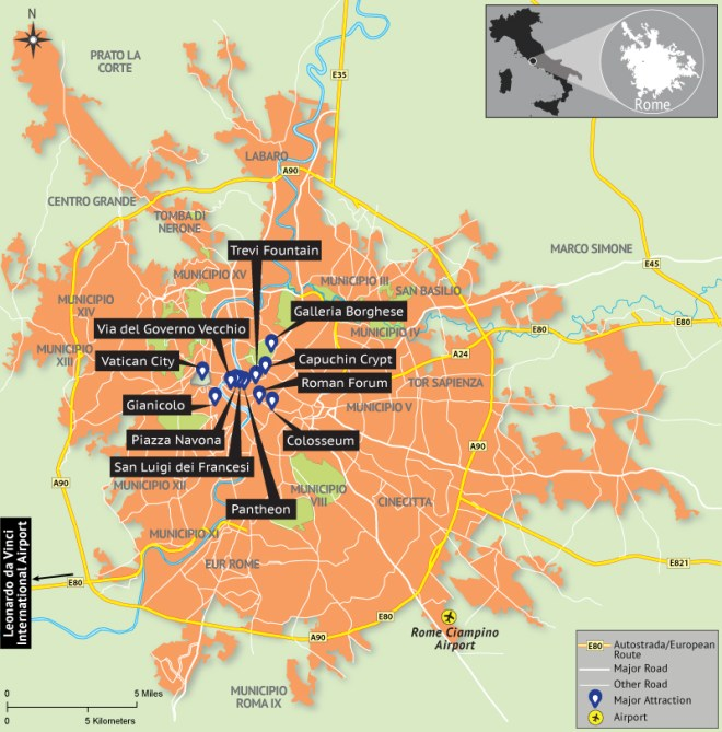 Rome Map Depicting Tourist Attractions