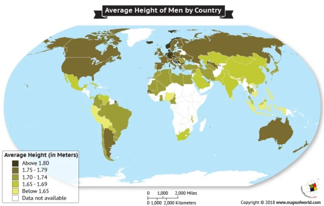 World Map depicting Average Heights of men by Country