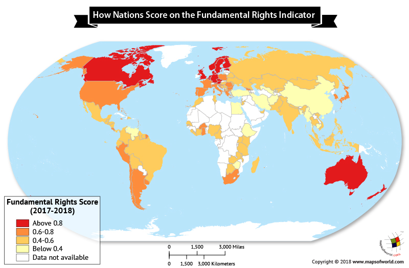 World map showing Fundamental Rights Index