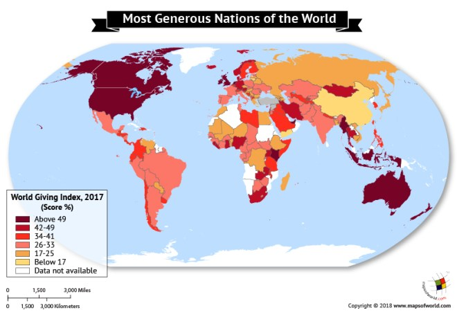 World Map depicting the most Generous Nations