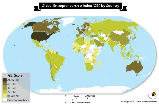 World map showing global entrepreneurship index 2018