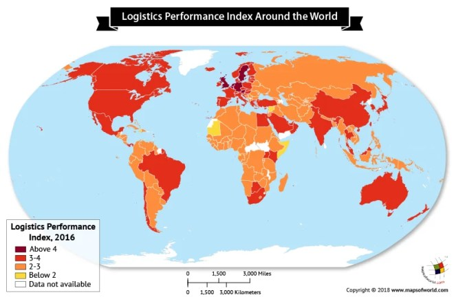 World map depicting Logistics Performance Index