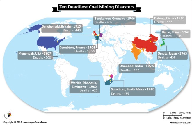 World map highlighting ten deadliest coal mining disasters
