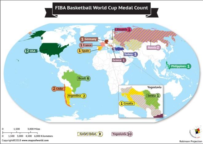 World Map highlighting winners of FIBA Basketball World Cup
