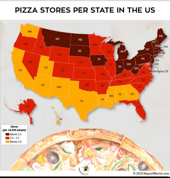 US map depicting Pizza Stores per state