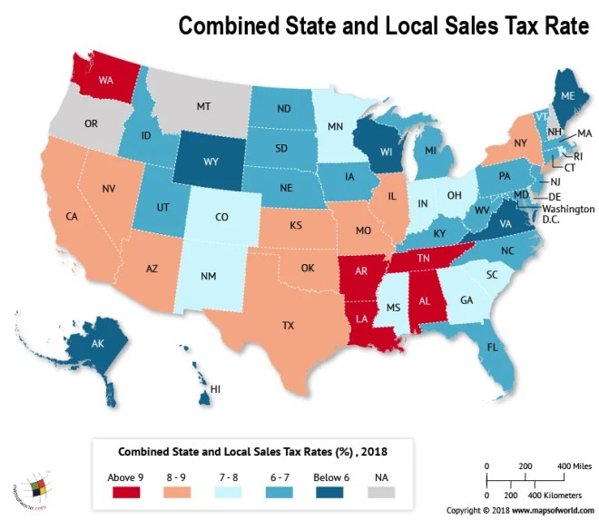 What Is The Combined State And Local Sales Tax Rate In Each Us State - Map-of-the-world-with-us-states