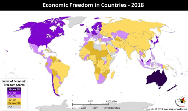 World Map depicting Economic Freedom Index