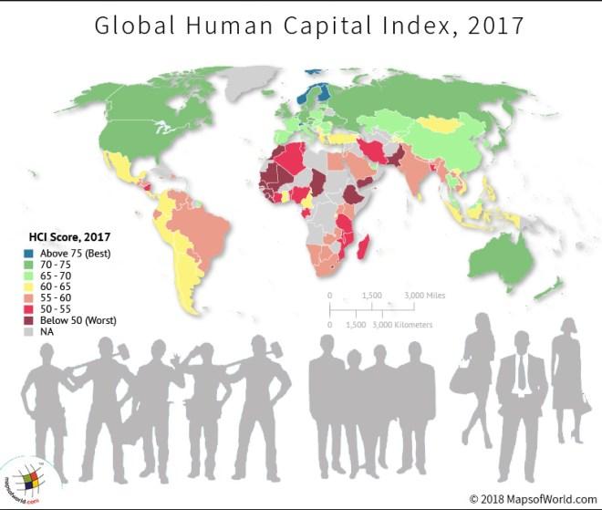 World map depicting scores of Human Capital Index