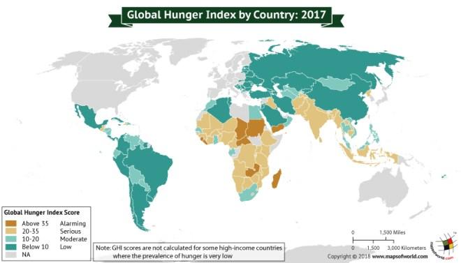 World Map depicting Global Hunger Index