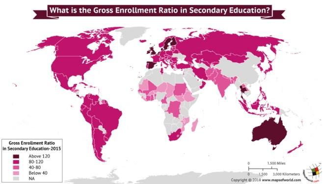 World Map depicting gross enrollment ratio
