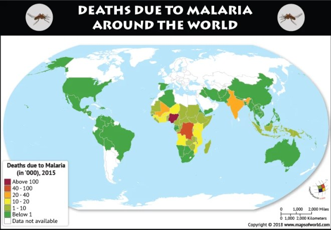 World map depicting deaths due to malaria