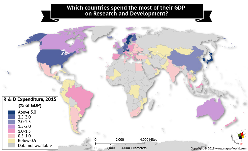 World map depicts the countries' expenditure on Research and Development