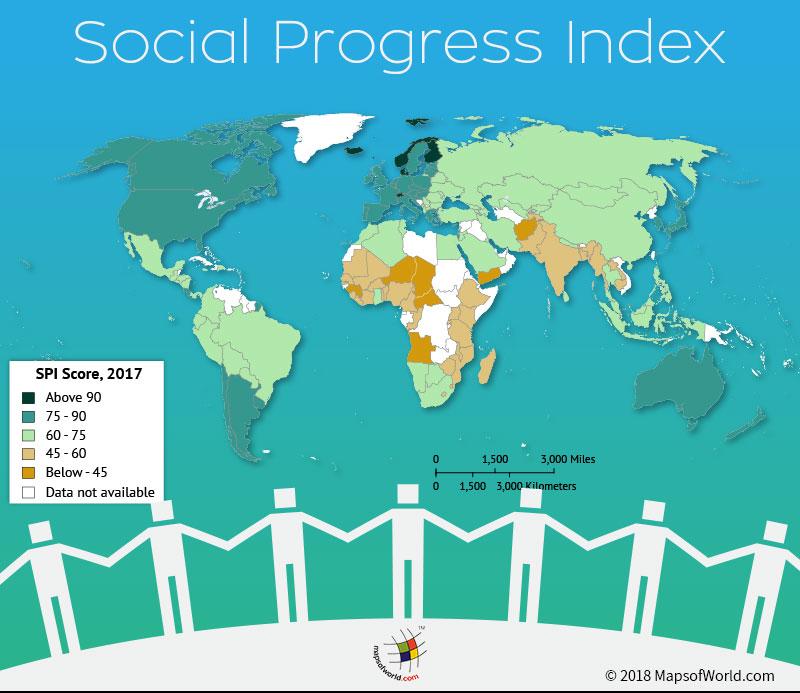 World Map depicting Social Progress Scores