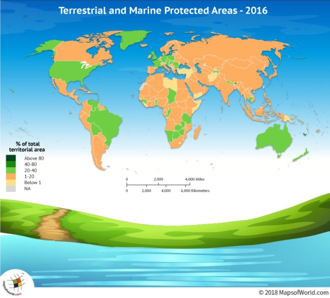 World Map showing terrestrial and marine areas