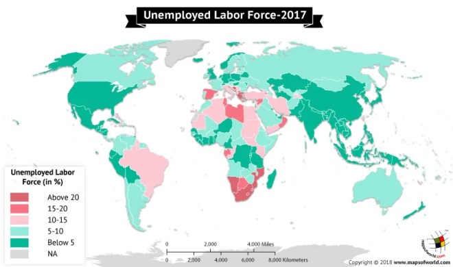 World Map depicting unemployment percentage of labor force in countries