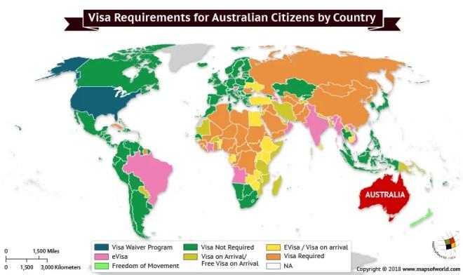 World Map depicting Visa Requirements of Australians