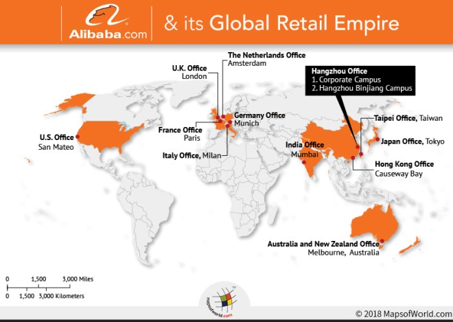 Map depicting principal offices of the Alibaba Group