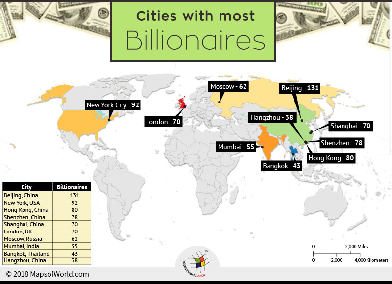 World map depicting cities with most billionaires