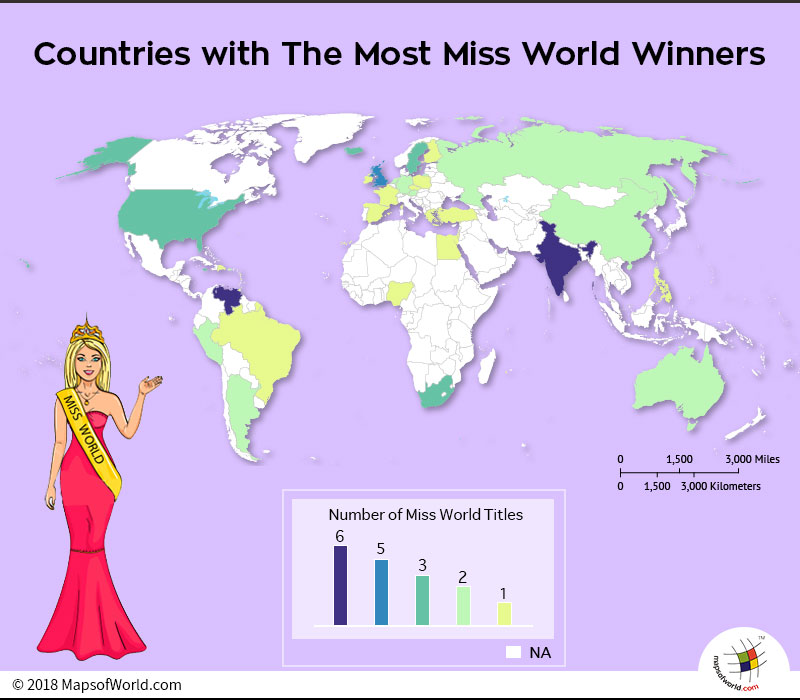 World map depicting countries with most Miss World Winners