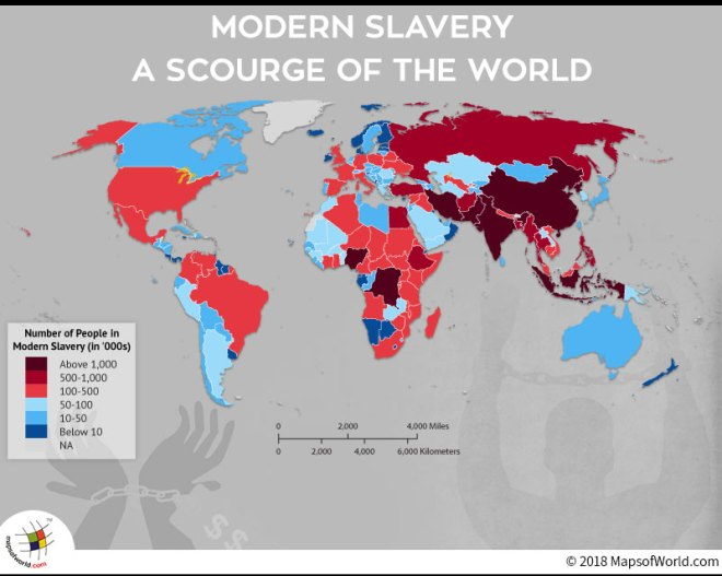 World map depicting countries inflicted with Slavery