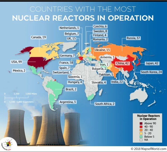 World map depicting operating nuclear reactors