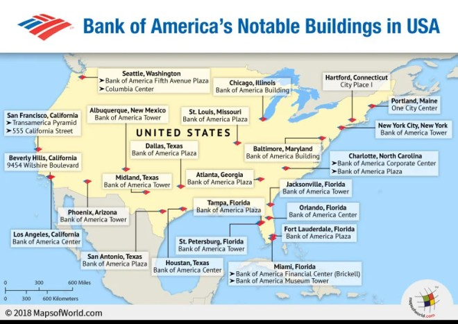 US map depicting the notable buildings of Bank Of America