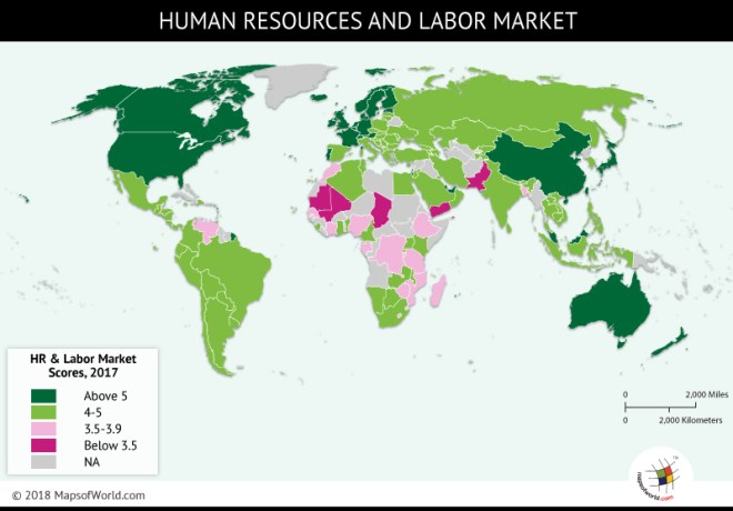 World map showing nations and the HR and labor competitiveness in tourism