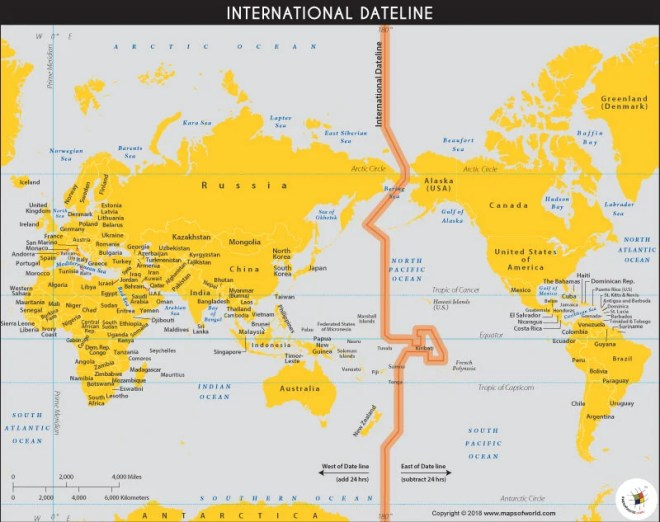 World Map showing the International Date Line