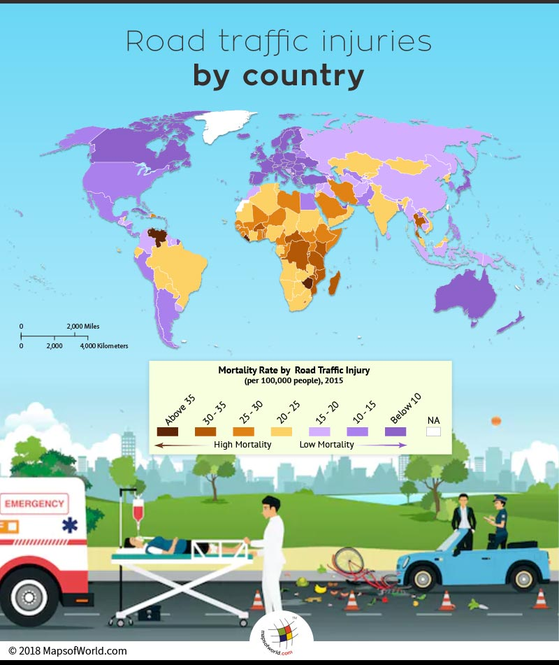 World map depicting countries with the highest road traffic injuries