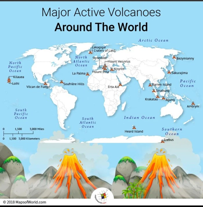 World map showing some of the world's most active volcanoes