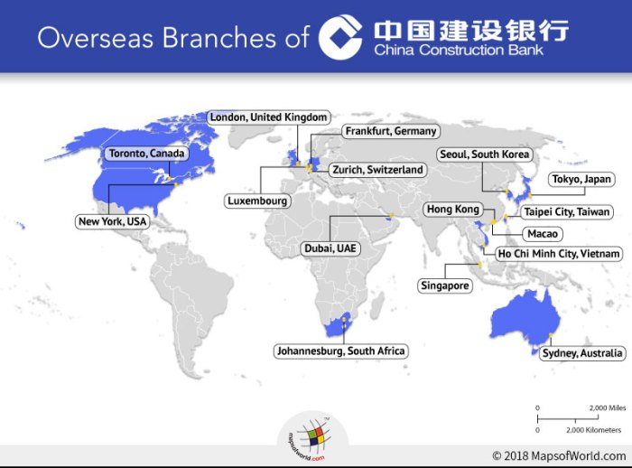 World map depicting overseas branches of China Construction Bank