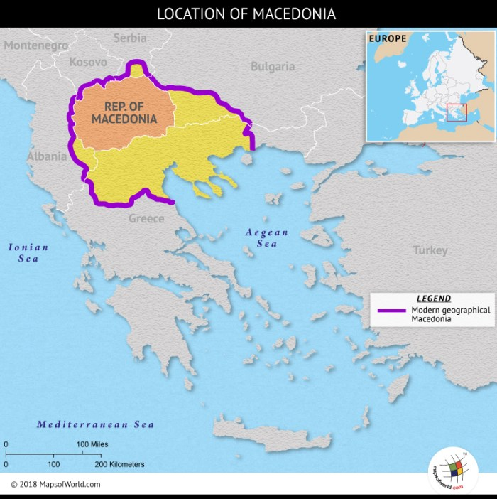 Map showing the geographical region of Macedonia