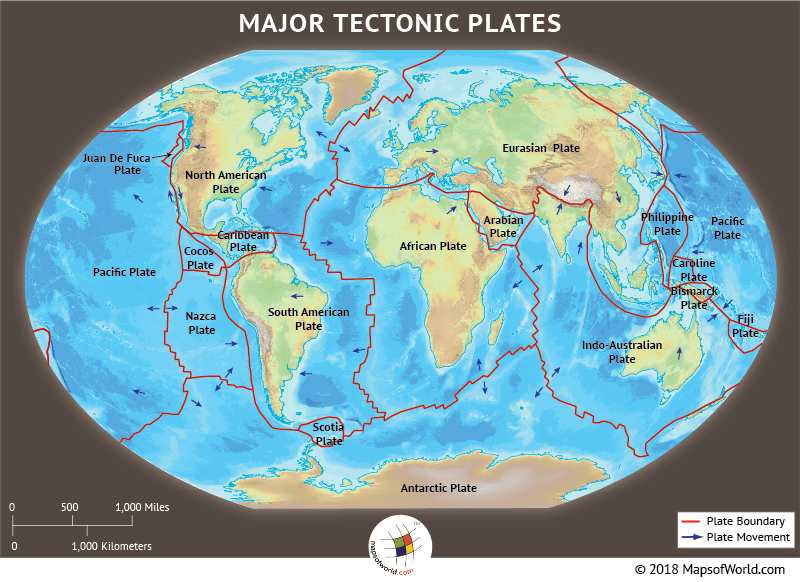 World map showing major and minor tectonic plates