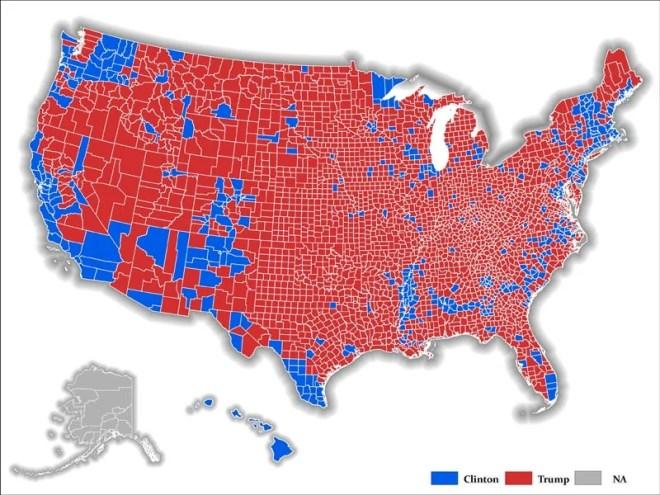 Map depicting regions where Trump dominates