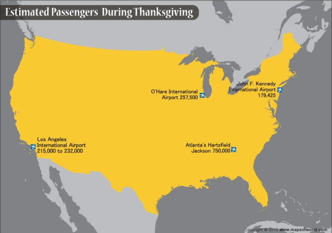 Map depicting some of the major airports in USA