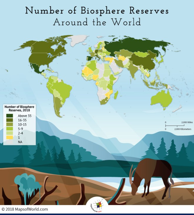 World map depicting the number of biosphere reserves in the world