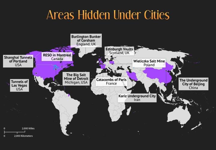 World Map depicting areas hidden under cities