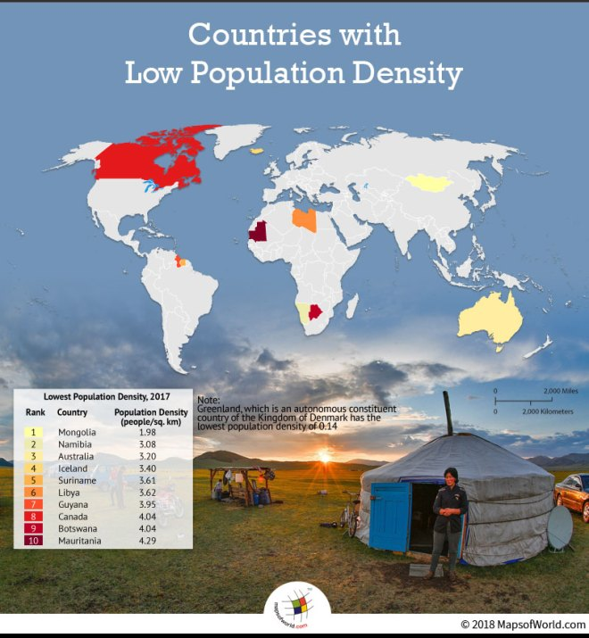 Map Showing Countries with Low Population Density