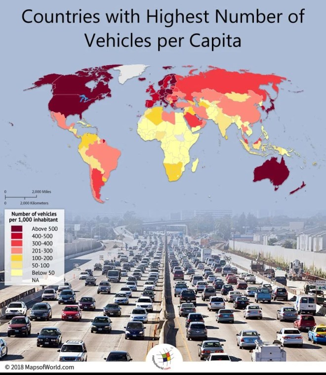 Number of Vehicles Per Capita in Different Countries