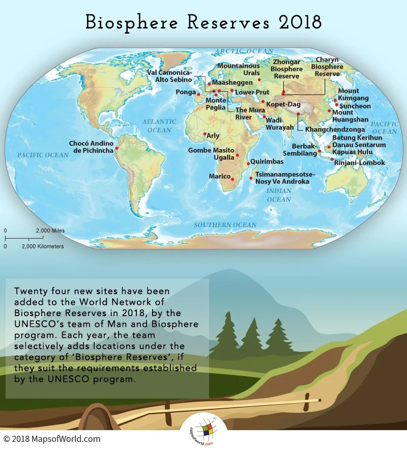 World Map Showing Biosphere Reserves which were Added in 2018