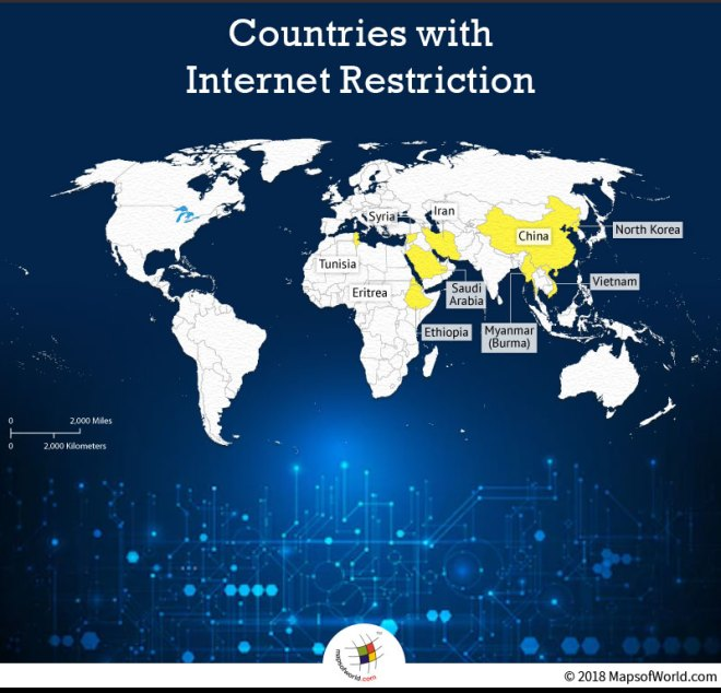 Map Showing Countries with Internet Restrictions Around the World