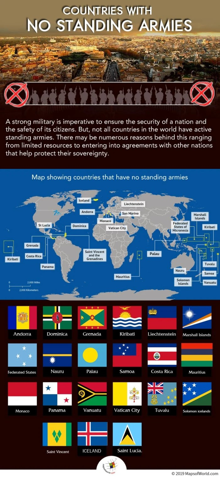Infographic Highlighting The Countries With No Military