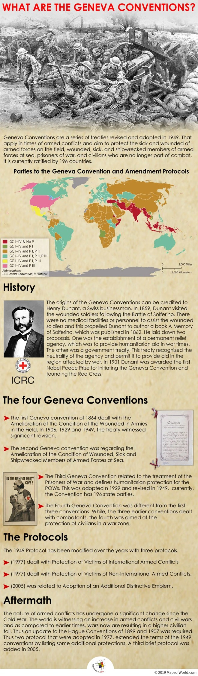 Infographic Giving Details on Geneva Conventions