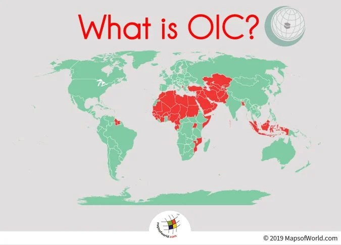 World Map Depicting Countries whic are the Members of OIC