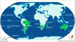 World Map showing countries which lie on Tropic of Capricorn