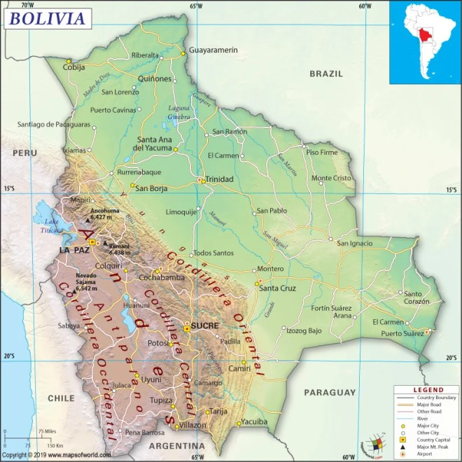 Map of Plurinational State of Bolivia