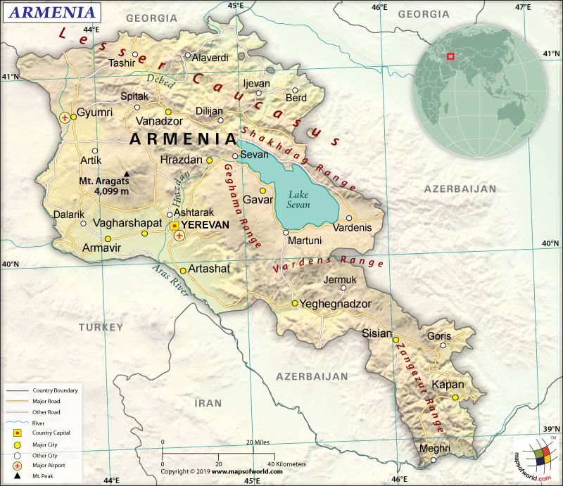 Map of Republic of Armenia