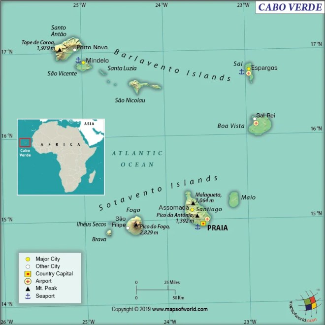 Map of Republic of Cabo Verde