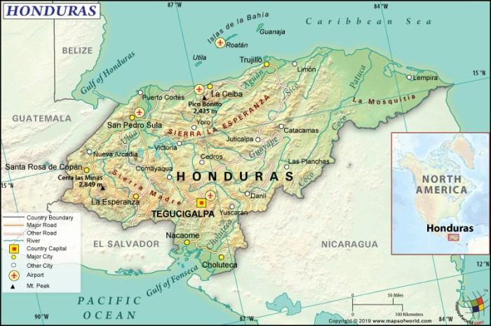 Map of Republic of Honduras