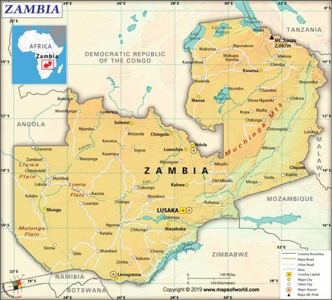 Map of Republic of Zambia